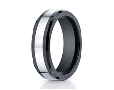 Cobaltchrome 7mm Comfort-Fit Ceramic Beveled Edge Design Ring 11549CC