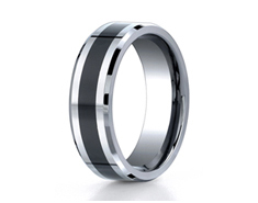 Cobaltchrome 7mm Comfort-Fit Ceramic Inlay Design Ring 11550CC