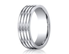 Cobaltchrome  7.0mm Comfort-Fit  Satin-Finished 4-Roll Design Ring 11557CO
