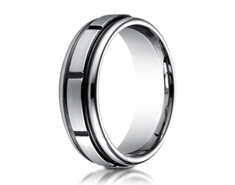 Cobaltchrome  7mm Comfort-Fit Satin-Finished Round Edge Blackened Sectional Design Ring 11565CO