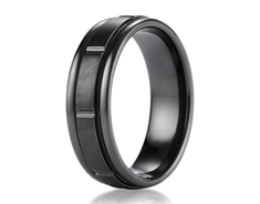 Black Titanium 7mm Comfort-Fit Satin-Finished Round Edge Design Ring 11567BT