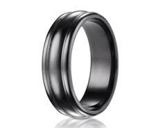 Black Titanium 7.5mm Comfort-Fit High Polished Design Ring 11568BT