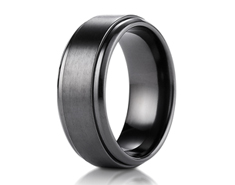 Black Titanium 9mm Comfort-Fit Satin-Finished Stair-Step Edge Design Ring 11569BT