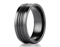 Black Titanium 8mm Comfort-Fit Satin-Finished High Polished Center Cut Squared Edge Carved Design Ring 11571BT