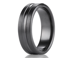 Black Titanium 7.5mm Comfort-Fit Satin-Finished High Polished Center Cut Carved Design Ring 11572BT