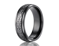 Black Titanium 7.0mm Comfort-Fit Hammered-Finished Design Ring 11573BT