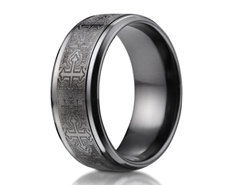 Black Titanium 9mm Comfort-Fit Cathedral Cross Design Ring 11575BT