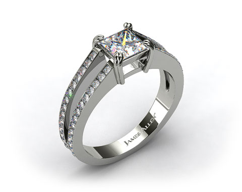14k White Gold 0.35ctw Split Shank Designer Engagement Ring