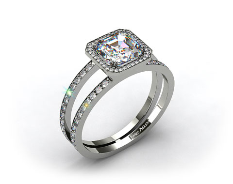 18k White Gold Asscher Shaped Pave Diamond Halo XE105 by Danhov Designer Engagement Ring