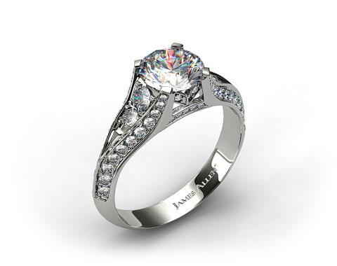 Platinum 0.50ctw Pave Set Diamond Engagement Ring