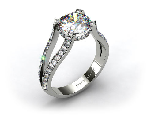 14k White Gold 0.42ctw Split Shank Pave Set Diamond Engagement Ring