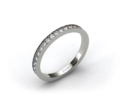 14k White Gold Pave Set Eternity Wedding Band