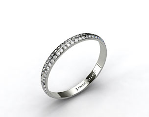 18k White Gold  Knife Edge Pave Diamond Eternity Wedding Band