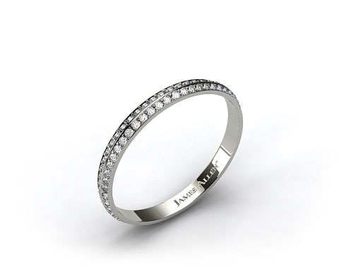 Platinum Knife Edge Pave Eternity Wedding Band