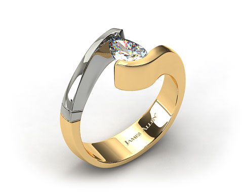 Platinum White and Yellow Gold Pear Shaped Swirl Tension Setting