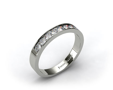 Platinum 0.24ct Channel Set Round Shaped Diamond Wedding Ring