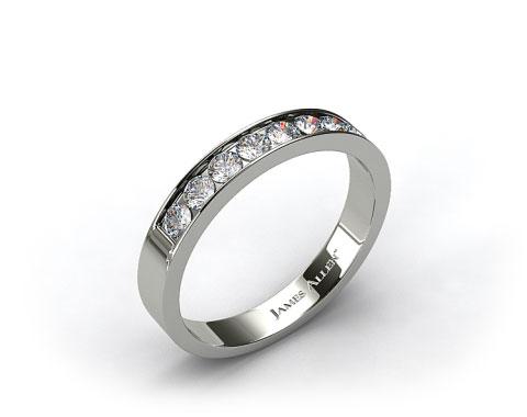 14k White Gold 0.24ct Channel Set Round Shaped Diamond Wedding Ring