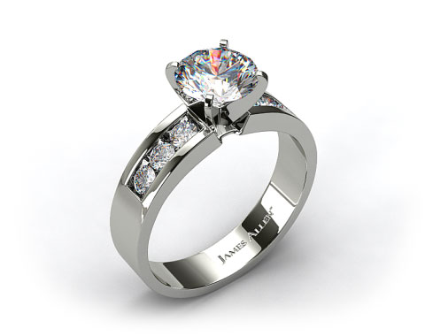 Platinum 0.30ct Channel Set Round Shaped Diamond Engagement Ring
