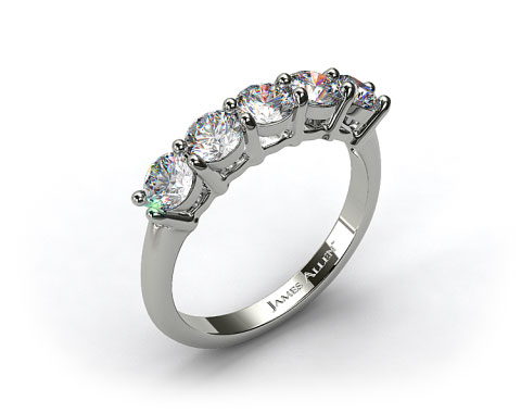 18k White Gold 1.50ct Five Stone Round Shaped Diamond Wedding Ring