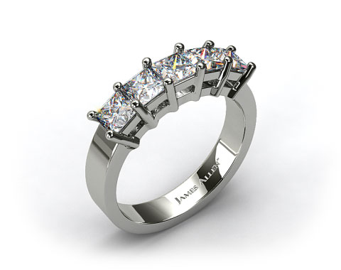 18k White Gold 1.60ct Prong Set Princess Shaped Diamond Wedding Ring