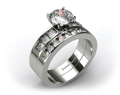 Platinum 0.75ct Channel Set Round Shaped Diamond Wedding Set