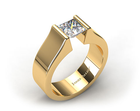 14k Yellow Gold Chunky Squared Tension Set Engagement Ring
