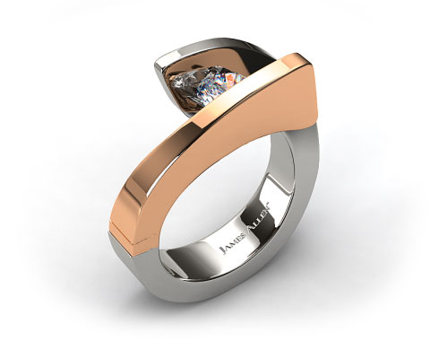 Platinum and Rose Gold Pave Diamond Twist Tension Set Engagement Ring