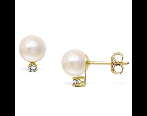14k Yellow Gold 6-6.5mm Akoya Pearl & Diamond Stud Earrings