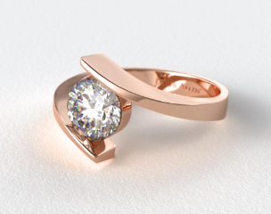 14K Rose Gold Spiral Solitaire Engagement Ring