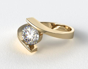 14K Yellow Gold Spiral Solitaire Engagement Ring
