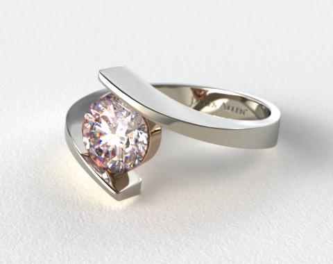18k White Gold Spiral Solitaire with Rose Gold Basket Engagement Ring (Rose Gold Basket)