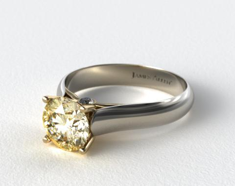 18k White and Yellow Gold Surprise Diamond Solitaire Engagement Ring (Yellow Gold Basket)