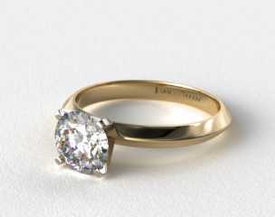 18K Yellow Gold 2mm Knife Edge Solitaire Engagement Ring