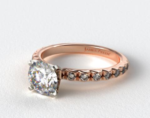 14K Rose Gold 0.32ct French Cut Pave Diamond Engagement Ring