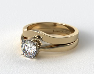 18k Yellow Gold 2.2mm Wire Basket Solitaire Ring & 2.3mm Curved Wedding Ring