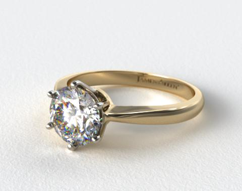 18k Yellow Gold Six Prong Wire Basket Engagement Ring