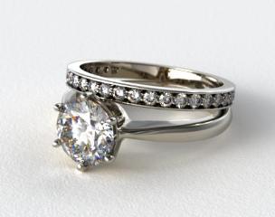 18k White Gold Six Prong Wire Basket Engagement Ring & 0.17ct Pave Set Wedding Ring