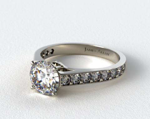 18k White Gold 0.35ct Pave Cathedral Engagement Ring