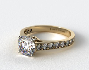 18k Yellow Gold 0.35ct Pave Cathedral Engagement Ring