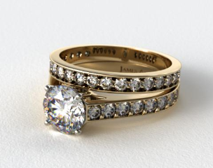 18k Yellow Gold 0.35ct Pave Cathedral Engagement Ring & 0.42ct Pave Diamond Wedding Ring