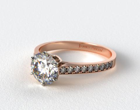14K Rose Gold 2.6mm Six Prong Pave Diamond Engagement Ring