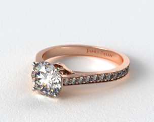 14K Rose Gold 2.2mm Pave Diamond Engagement Ring