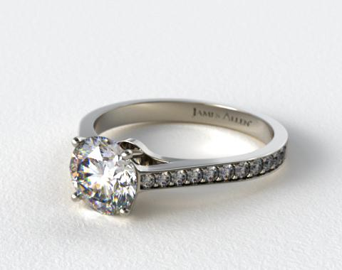 Platinum 2.2mm Pave Diamond Engagement Ring