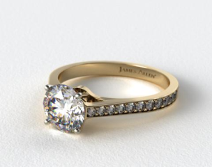 14k Yellow Gold 2.2mm Pave Diamond Engagement Ring