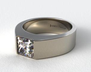 18k White Gold Designer Bar Princess Shaped Solitaire Engagement Ring