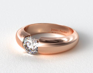 14K Rose Gold Round Brilliant Bar Set Diamond Solitaire Setting