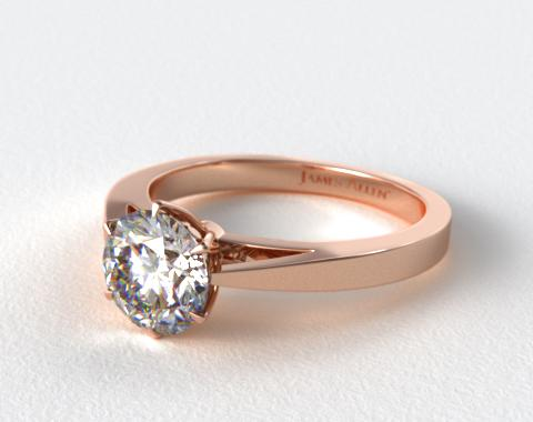 14K Rose Gold Tapered Six Prong Filigree Basket Solitaire Engagement Ring
