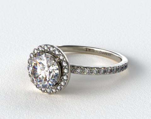 Platinum 0.39ctw Diamond Halo Pave Engagement Ring