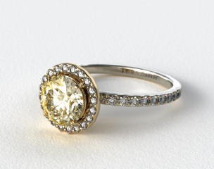 18k White Gold 0.39ct Diamond Halo Pave Engagement Ring (Yellow Gold Basket)