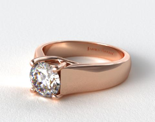 14K Rose Gold Wide Cross Prong Solitaire Engagement Ring